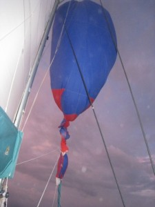 spinnaker tangled around forestay