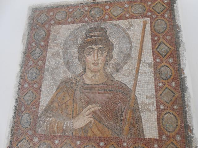 Part of the collection of mosaics at the Carthage Byrsa Museum. It had a big colection from diferent periods in Carthage history: Punic,Roman, Paleochristian, Benzatine and Arab.