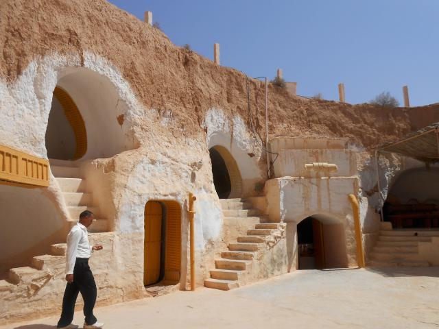 On the second day we had lunch in this typical Berber house.  Troglodites. This was part of the set of one of the Star Wars. The house are cute. Underground but they all have a large courtyard for brightness and all the rooms around it.