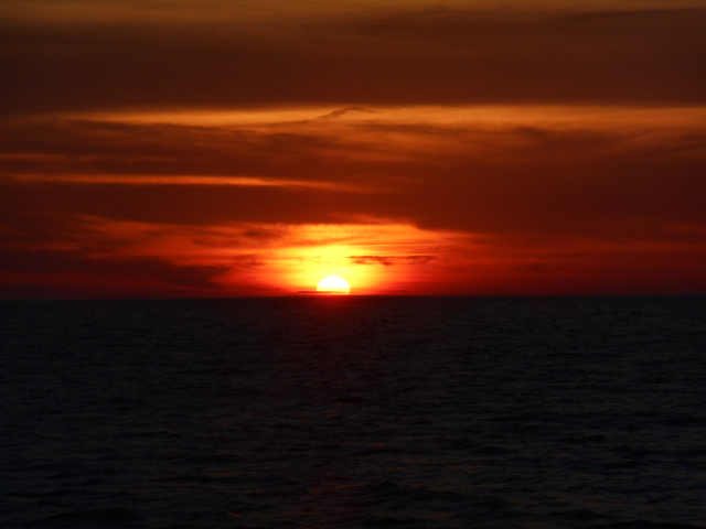 Sunset as we are leaving Corfu, bound north