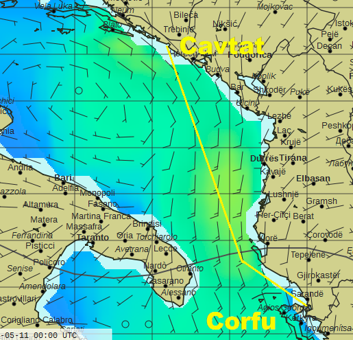 Wind forecast for Monday noon, with our intended course from Corfu to Croatia