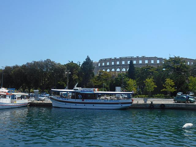 The amphitheater at Pula. The fuel dock is just at the right of the boat