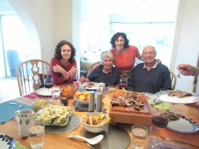My sister Mitzi, Ceu  and Dad celebrating Mum's 86th birthday.