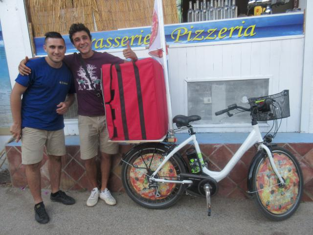 Pizzas delivered by bicycle!