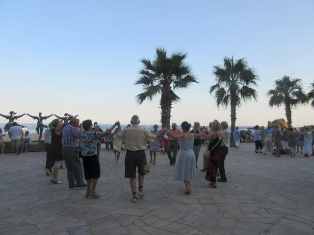 we even took in some fiestas in town with a nice young people's brass band playing and many groups like this one lined the ocean front dancing