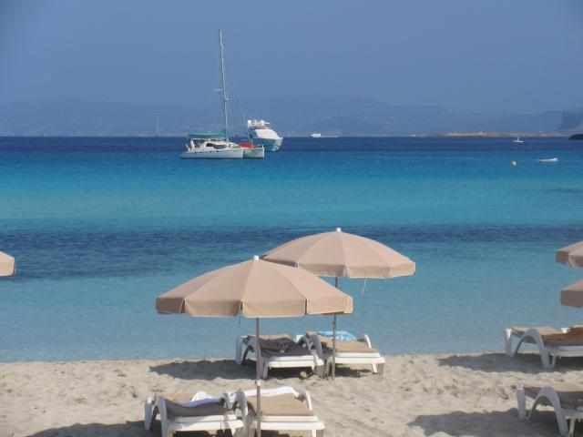 our anchorage in the beautiful waters of Formentera, Ibiza