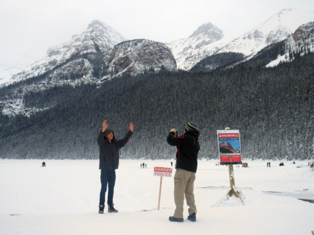 Ben doing his classic pose at Lake Louise