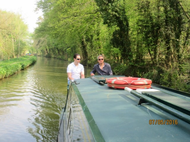 Josh and Me on the canal boat, Oxford Canal