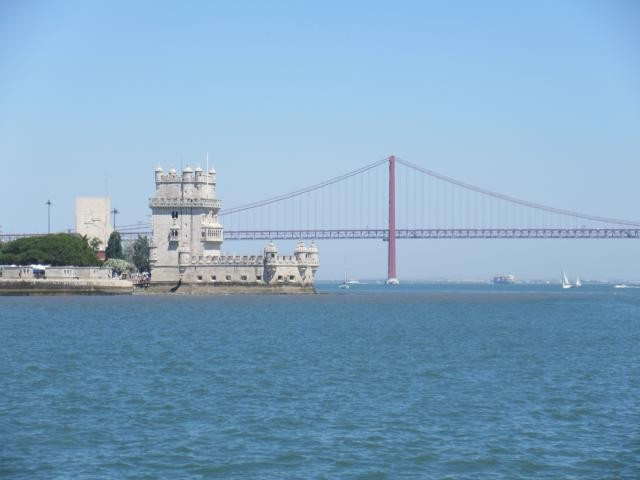 Arriving in Lisbon with the Torre de Belem to port