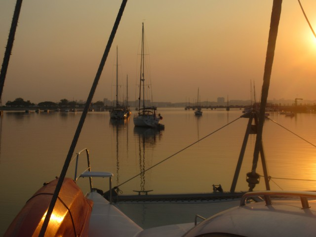 Sunset at anchor in Seixal
