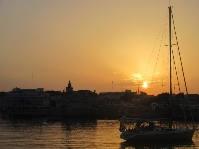 Sunset at anchor in Cascais