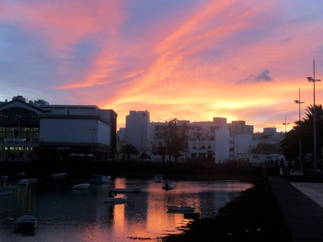 Arrecife town with nice promenade along a lagoon. Beautiful sunsets evrynight and a very close walk from the marina