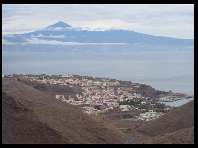 town of San Sebastian, marina La gomera and Tenerife's El Tide